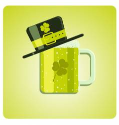 cartoon green beer and hat vector image