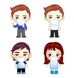 Boys and girl with fever and face vector