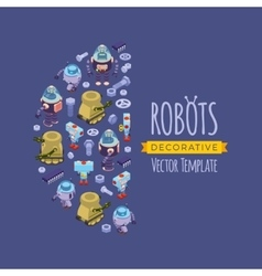 Decorating design made of robots vector