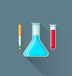 Flat pipette flask test-tube icon vector