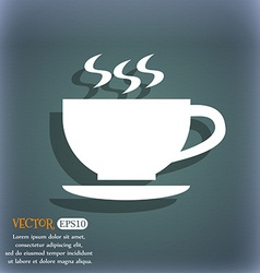 The tea and cup icon on the blue-green abstract vector