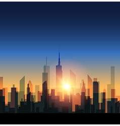 Cityscape with sunset vector