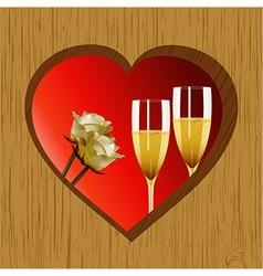 Valentine wooden heart champagne and roses vector