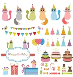 Birthday party elements and cats vector image