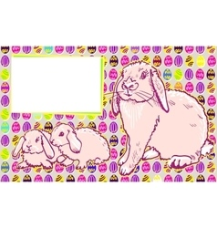 Bunny rabbits with easter modern art vector