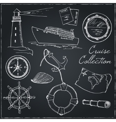 Marine and vacation isolated doodles elements vector