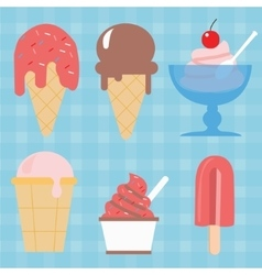 Ice cream cone icon set sweet vector