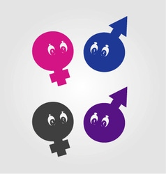 Gender symbols with eyes vector