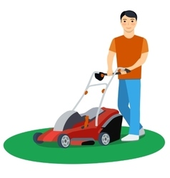 Man cutting grass vector