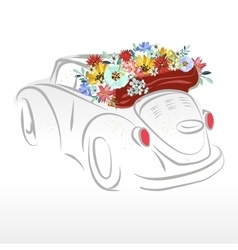 Retro-car with beautiful flowers vector