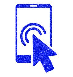 Arrow double click smartphone grunge icon vector