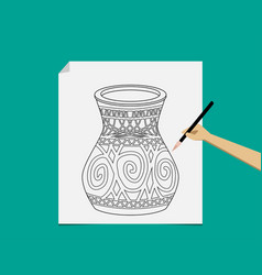 Artist sketching pottery on white paper vector