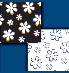 black and white patterns with simple colors vector image