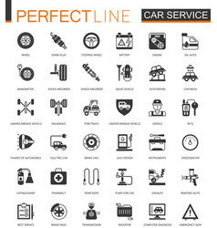 black classic car service icon set repair car vector image