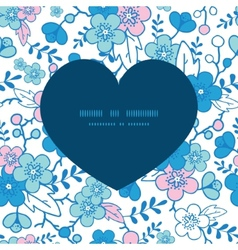 blue and pink kimono blossoms heart vector image