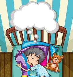 Boy in blue pajamas sleeping vector image