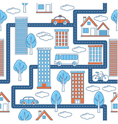 Buildings vehicles roads and trees pattern vector