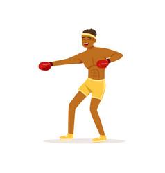 cartoon black man in protective gloves vector image