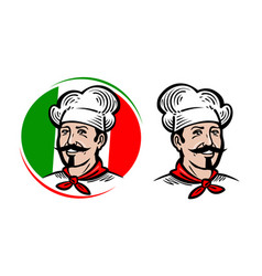 Chef logo italian food pizza restaurant menu vector
