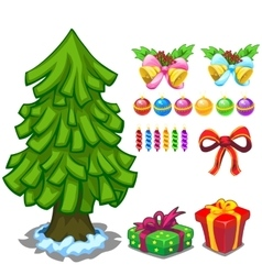 Christmas tree and toy set for decoration vector image vector image