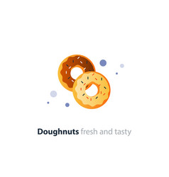 Couple of donuts tasty doughnuts with different vector