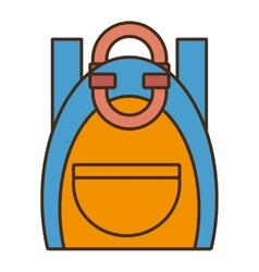Drawing blue and yellow bag student school vector