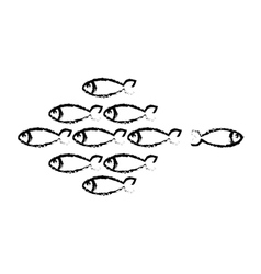 Fish shoal icon vector