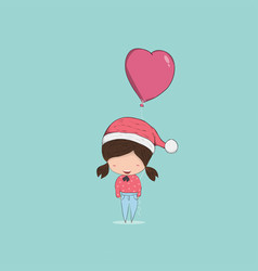 girl with heart shaped balloon christmas vector image vector image