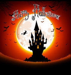 Halloween scary house on full moon background vector