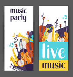 Jazz party live music banners with musical vector