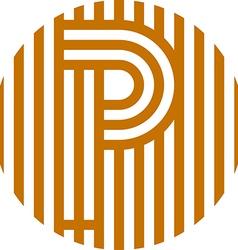 letter line p alphabet design vector image
