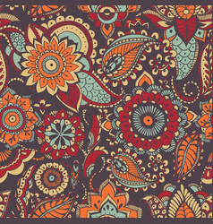 Motley oriental paisley seamless pattern with vector