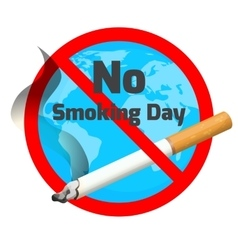 No smoking day ashtray and cigarette with red vector