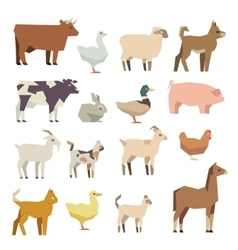 Pets and farm animals flat icons set vector