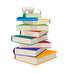 pile of books with glasses on top vector image