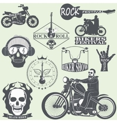 Rock themed badges vector image vector image