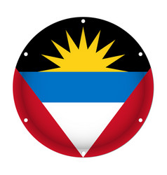 round metal flag of antigua and barbuda with holes vector image vector image