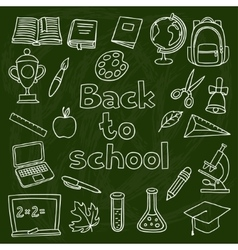 School and education set of hand drawn icons on vector image