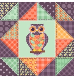 Seamless patchwork owl pattern 1 vector