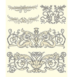 Set of five clasical ornaments vector