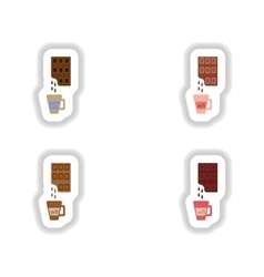 Set stylish paper stickers cup of hot chocolate vector