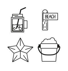 Set tools to vacation summer day vector