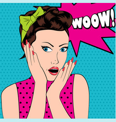 Surprised woman in pop art style with wow sign vector