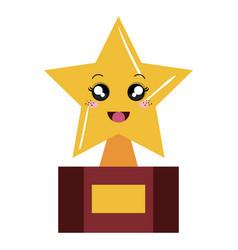 Trophy star kawaii character vector