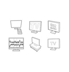 Tv set icon set outline style vector