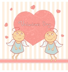 Two cute angel sweet card for Valentines Day vector image vector image