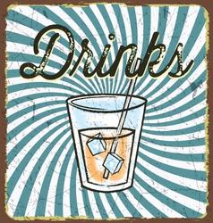 Vintage drink poster vector image vector image