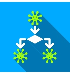 Virus reproduction flat long shadow square icon vector