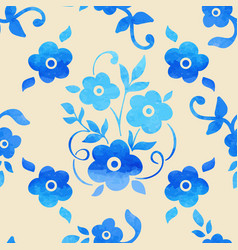 Watercolor flower seamless pattern vector