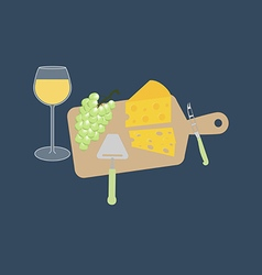 Wine cheese and grapes vector